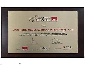 Mazurskie Meble Szynaka-Interline Sp. z o.o. w gronie laureatów Gazele Biznesu 2017