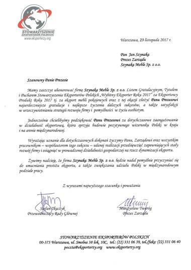 """Tytuł """"Wybitnego Eksportera"""" dla Grupy Meblowej Szynaka"""